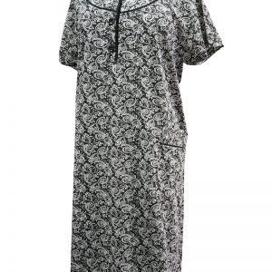 Φόρεμα Βαμβακερό ΓΙΆΝΝΑ Κοντό Μανίκι Άσπρο- Μαύρο  cfc09d995e3